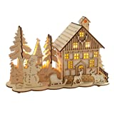 WeRChristmas Pre-Lit Wooden House Snow Reindeer Scene with Tree Window, Warm White LED Lights, 28 cm - Multi-Colour