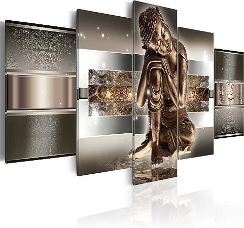 Quadro 100x50 cm Buddha paesaggio natura cascata albero bosco vari colori c-A-0021-b-n 5 Parti murando Stampa in qualita fotografica Quadro su tela fliselina