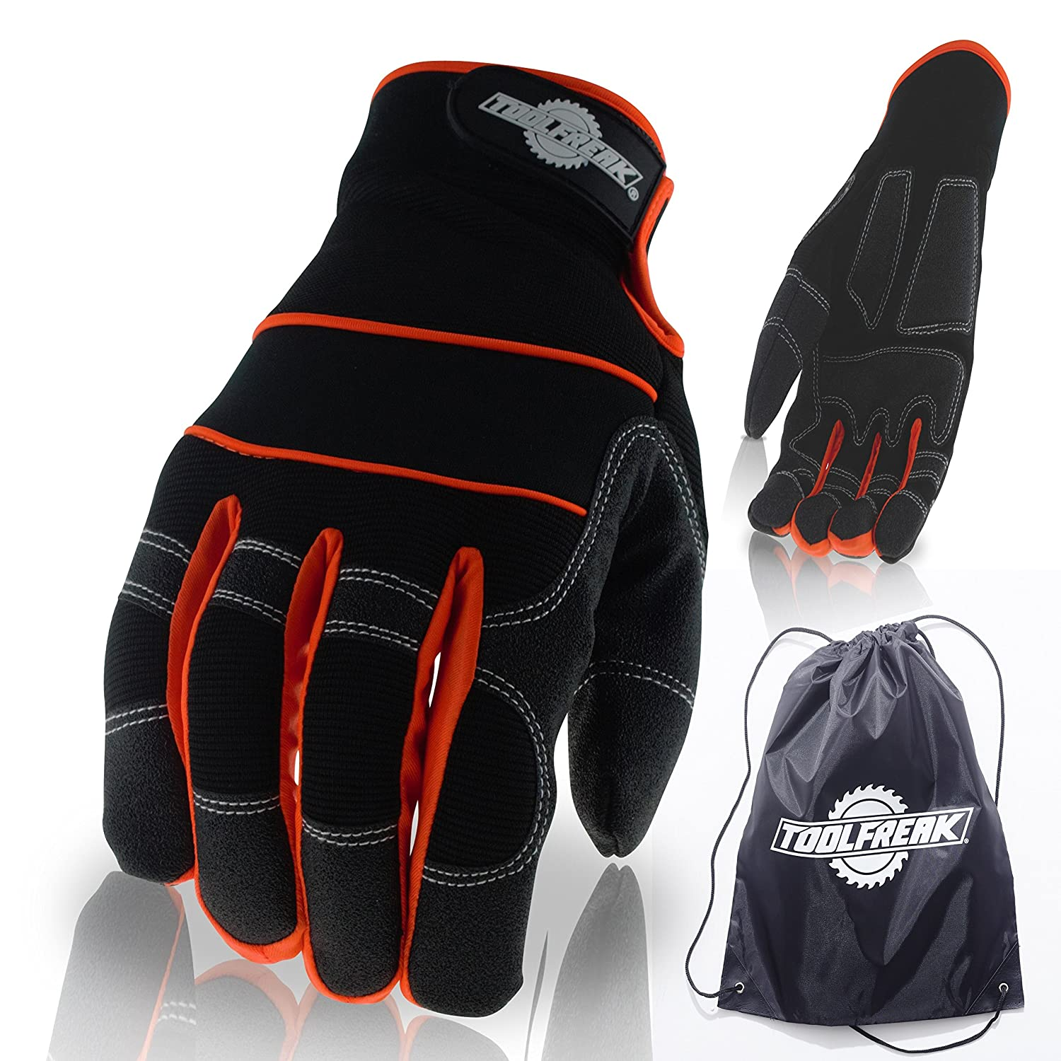 ToolFreak Safety Work Gloves Cosy Anti Slip Grip Padded Palms to Better Absorb Vibration Thermal Lined Palms and Backs Size 8 Medium