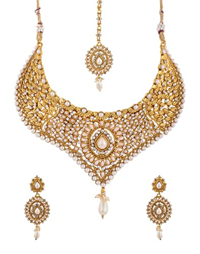 49c4881a43 Grand looking white stone close to neck choker necklace set (Vas_GH_NK_26)