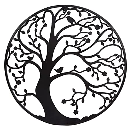 large cm black metal tree circle wall art sculpture for garden or