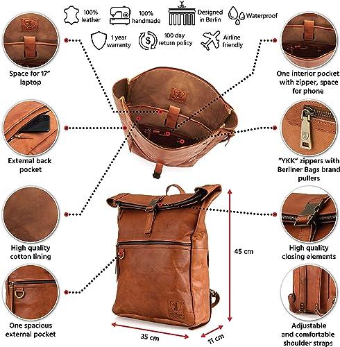 Berliner Bags Utrecht XL Leather Backpack Laptop Rucksack Men Women Retro Brown