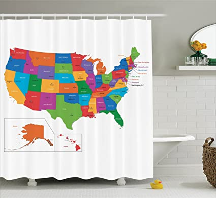 Wanderlust Shower Curtain By Ambesonne Colorful USA Map With States And Capital Cities Washington Florida