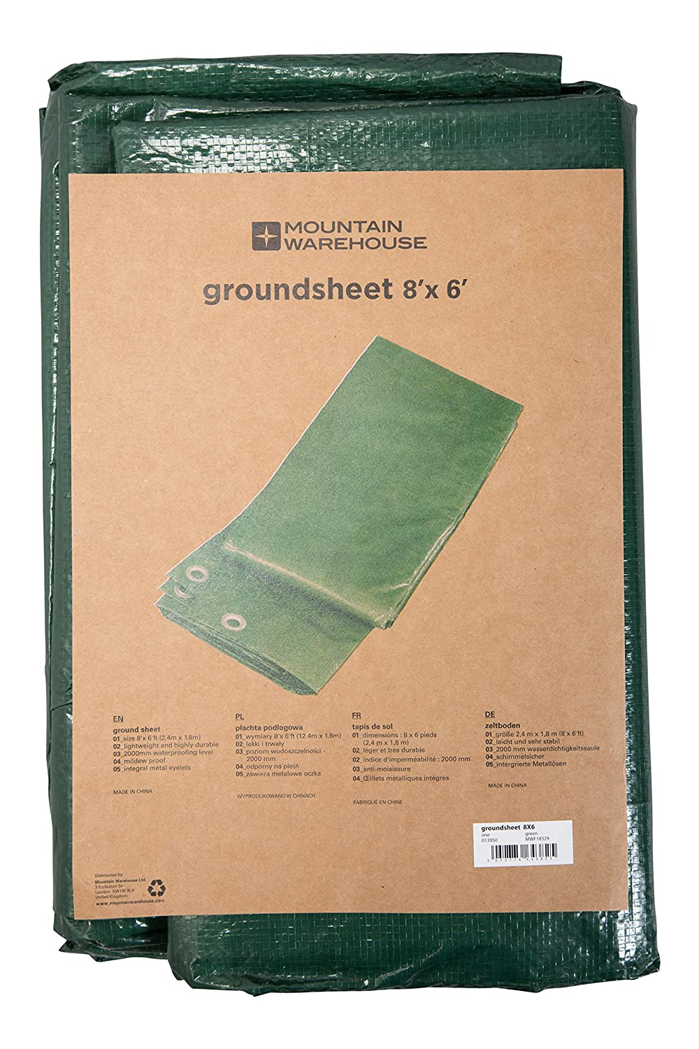 Mountain Warehouse Groundsheet 8x6 - Waterproof, Mildewproof Shelter Tent, Metal Eyelets Canopy Cover, Lightweight, Easy Pack Camping Tarp - For Picnics, Outdoor, Hiking Hiking Green