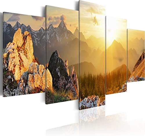 artgeist Handart Canvas Wall Art Nature Mountains 225×112 cm / 88.58″x44.3″ 5 pcs Painting Canvas Prints Picture Artwork Image Framed Contemporary Modern Photo Wall Home c-B-0056-b-m