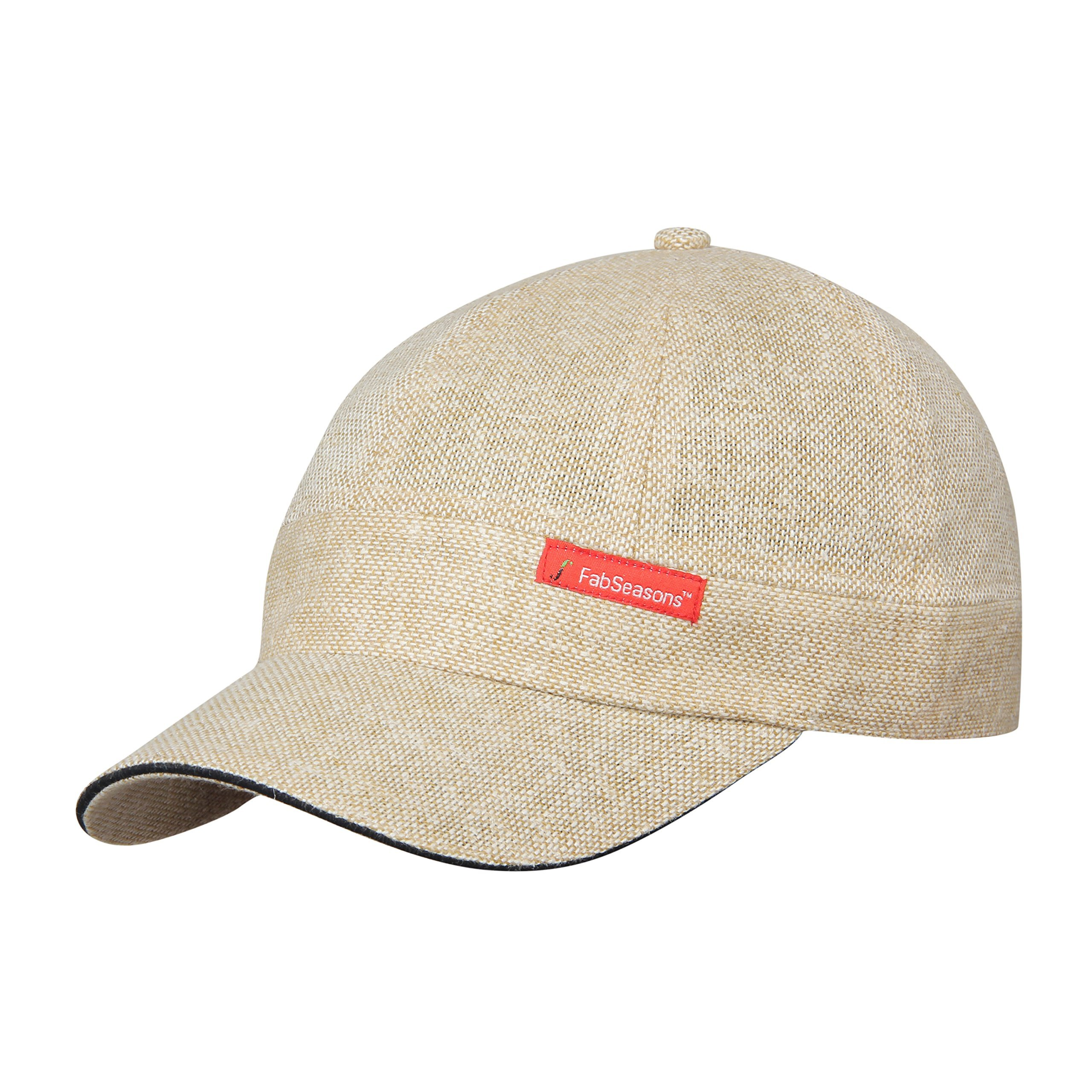 FabSeasons Men's Short Peak Cap 57cm Beige