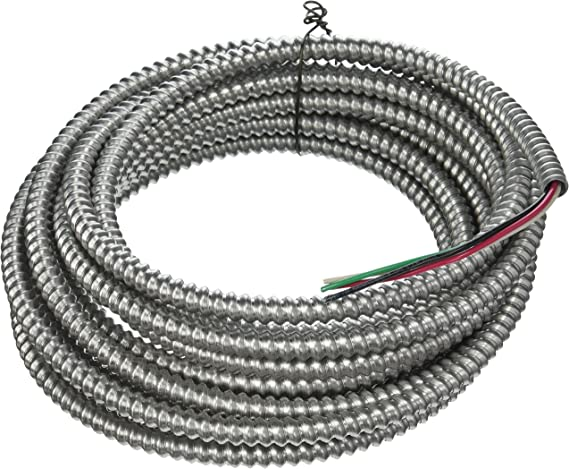 Southwire 68582621 25 Ft 14 3 Solid Cu Armorlite Metal Clad Cable Aluminum Electrical Wires Amazon Com