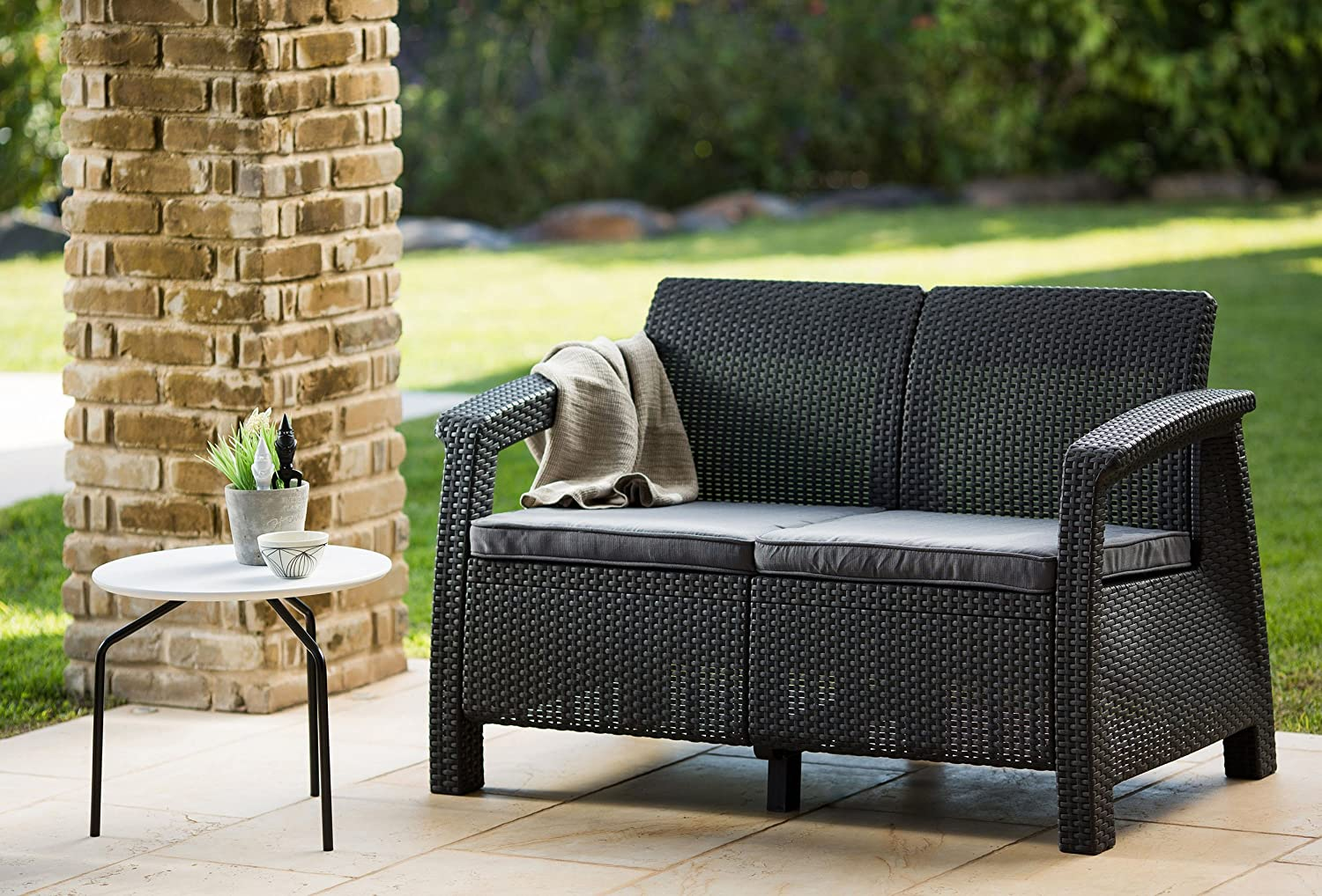 Amazon.com : Keter Corfu Love Seat All Weather Outdoor Patio Garden  Furniture W/ Cushions, Charcoal : Patio Loveseats : Garden U0026 Outdoor