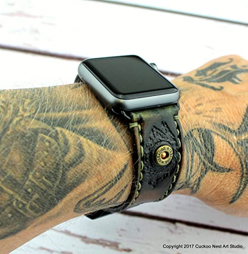 8289f392e94556 Amazon.com: Camouflage Leather Apple Watch Strap, Custom Apple Watch Band  for 38mm and 42mm Apple Watch,: Handmade