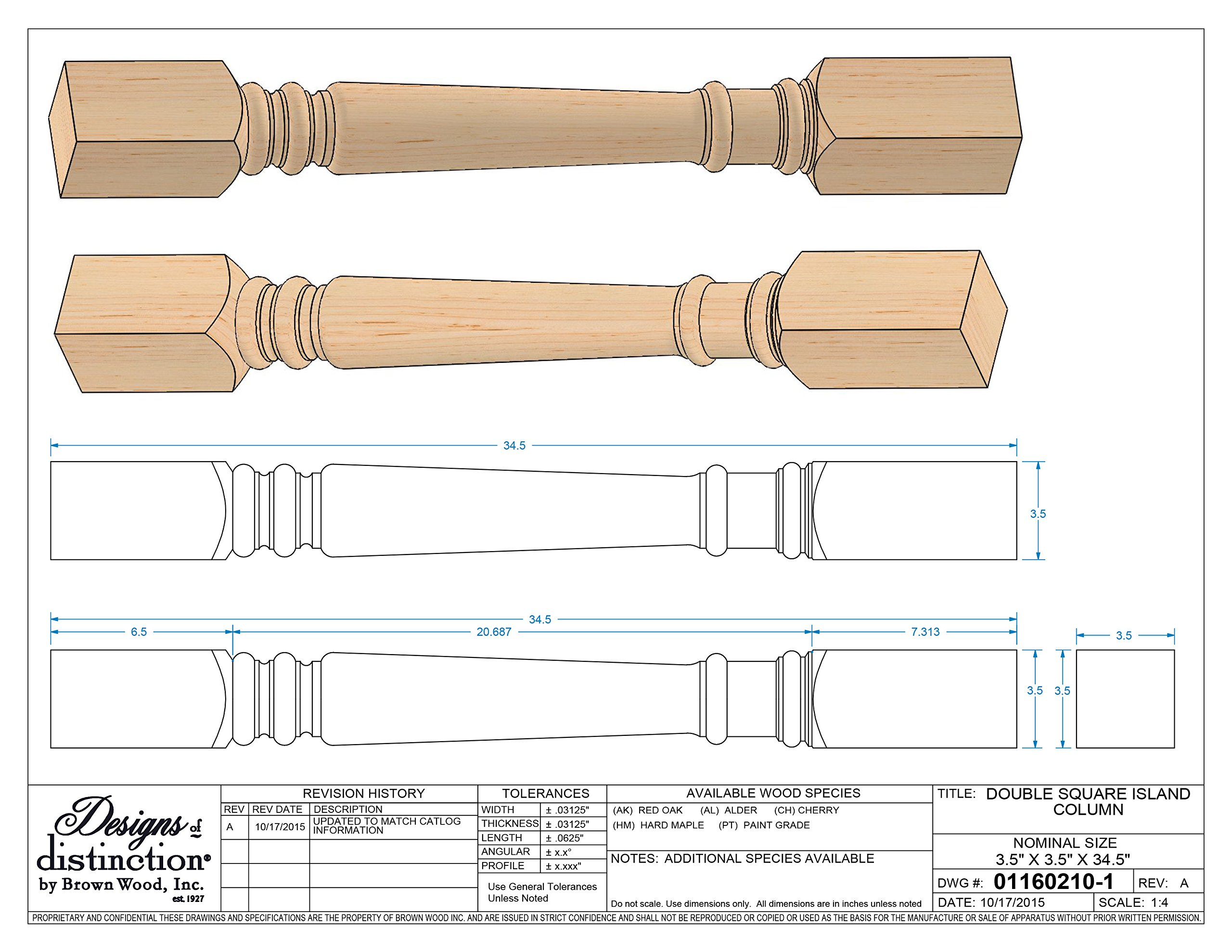Traditional Double Square Island Column, Red Oak