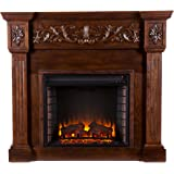 Southern Enterprises Calvert Carved Electric Fireplace, Espresso Finish