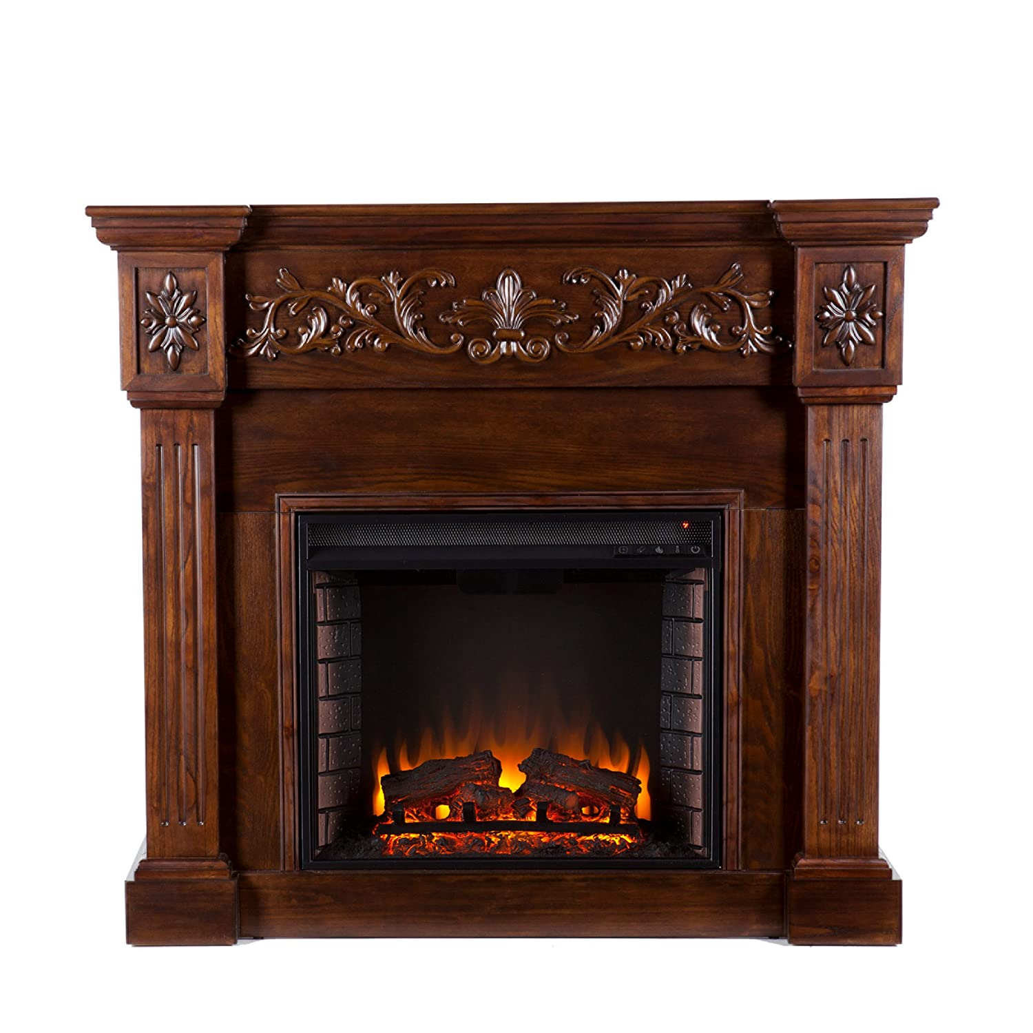 Calvert Carved Electric Fireplace With Mantel Dark- Espresso