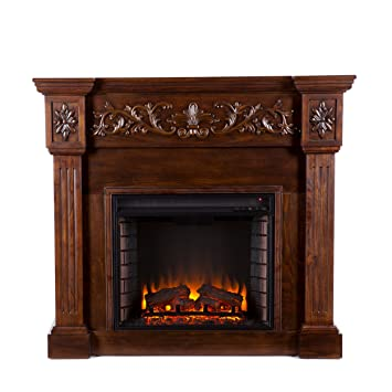 Amazon Com Southern Enterprises Calvert Carved Electric Fireplace