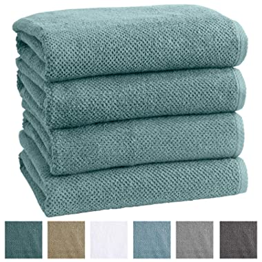 Great Bay Home 4-Pack 100% Cotton, Ultra-Absorbent Popcorn Bath Towels. 6 Elegant Solid Colors. Popcorn Weave. Acacia Collection. (Bath 4pk, Mineral Blue)