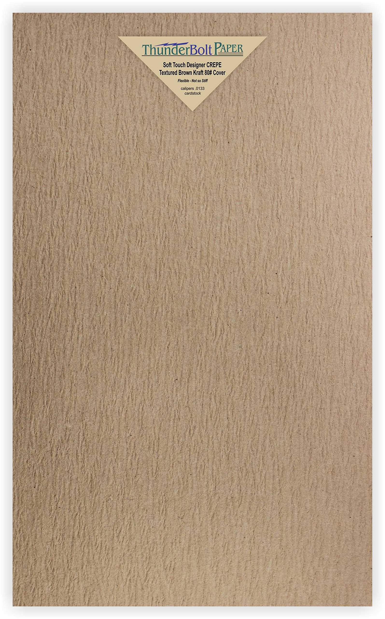 100 New Soft Touch Designer Crepe Brown Kraft Cover Paper 8.5 X 14 Inches, 80lb Thick Card Sheets - Texture Runs Long - Legal & Menu Size -Textured Premium Quality, Flexible - Plain Blank Cardstock