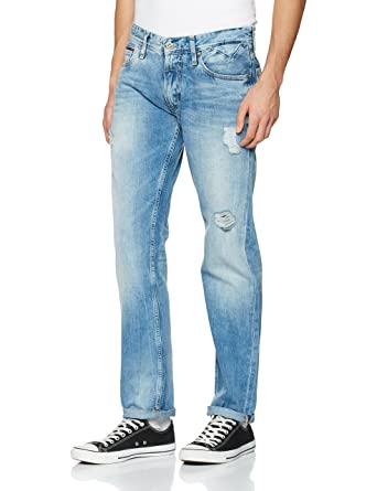 92bc7517e8daf Tommy Jeans Homme ORIGINAL STRAIGHT RYAN MBBD Jeans Droit Bleu (Mid Bright  Blue Destructed)