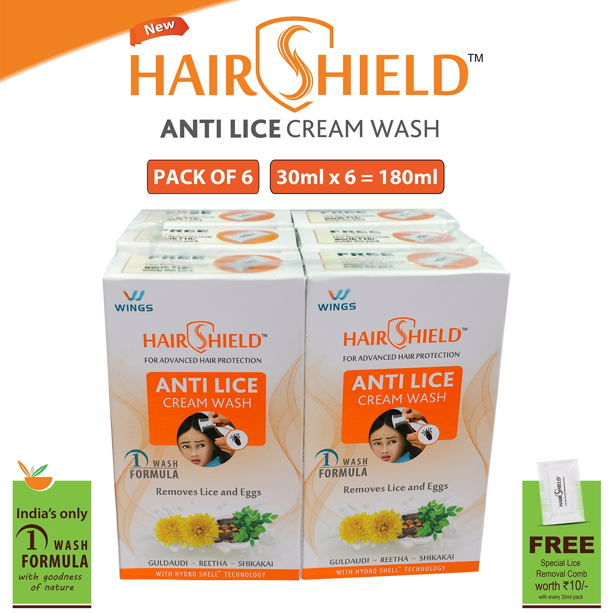 Hairshield Anti Lice Cream Wash 30 Ml X Pack Of 6 = 180 Ml Free Head Lice Comb With Every Pack product image