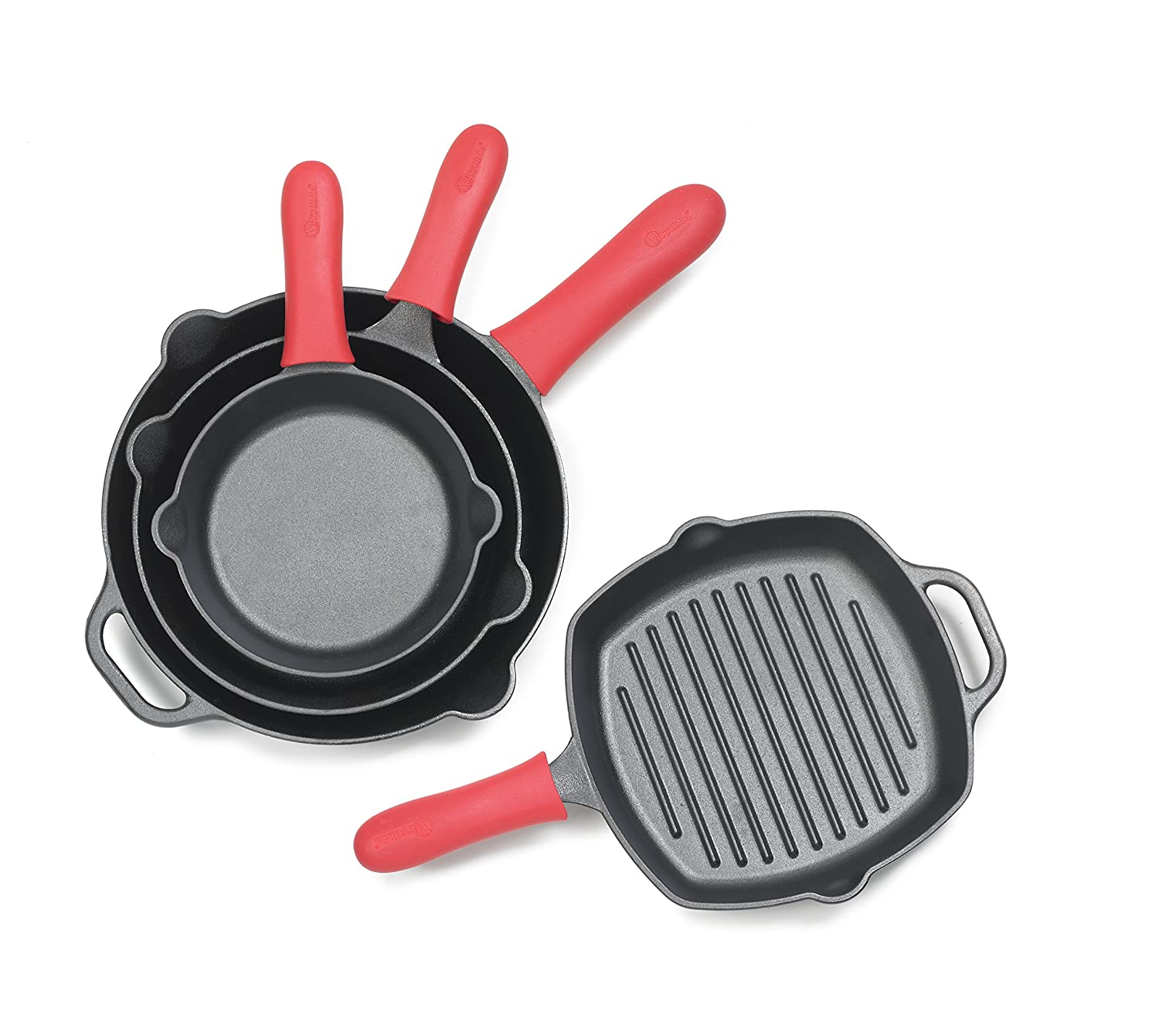 Victoria Silicone Handle Holder for Victoria Skillets GDL-186 SKL-200 SKL-210 SKL-218 and SKL-212, ACC-498, Large, Red