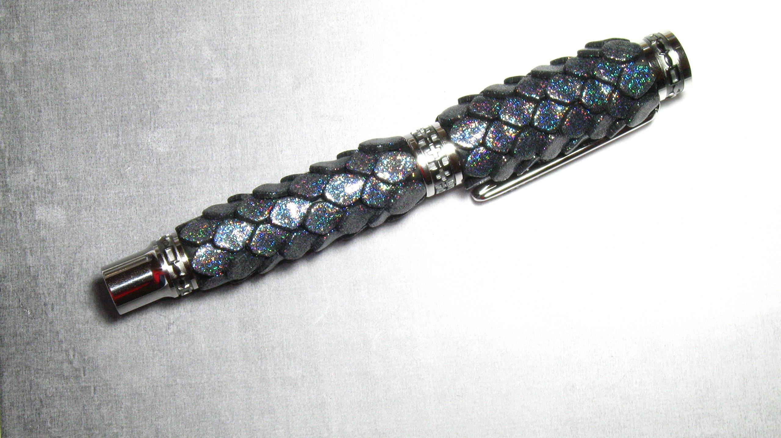 Black Titanium Rhodium Jr Emperor Holo Dragon Scales Rollerball Ink Pen