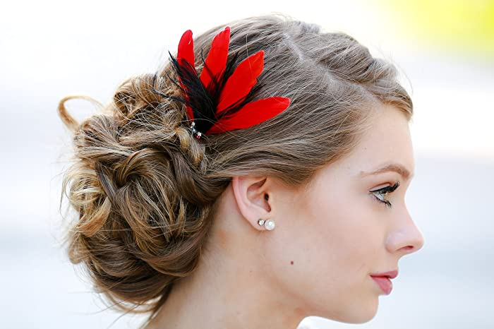 Amazon Com Red Black Hair Fascinator Feather Clip