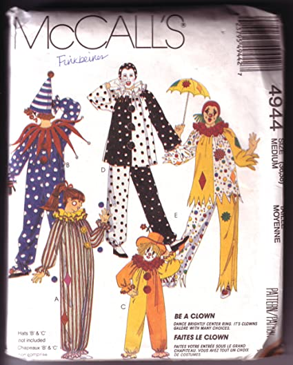 Amazon Com Mccall S 4944 Adult Clown Costume Patterns Size Medium 36 38 Arts Crafts Sewing