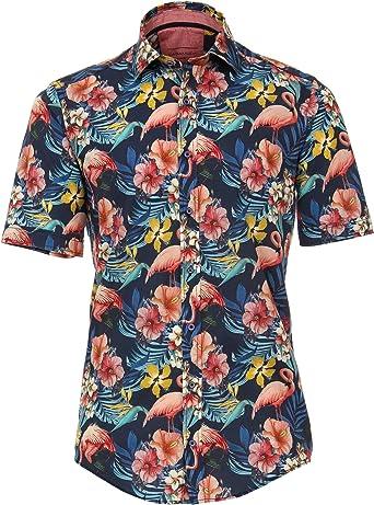 CASAMODA - Camisa de Manga Corta, diseño Floral, Color Azul Oscuro, Talla M a 5XL: Amazon.es: Ropa y accesorios