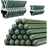 Garden Stakes & Plant Clips Bundle: 20 Weatherproof Plastic Coated Steel Plant Stakes (36in) & 20 Garden Clips for Flowers & Vegetables - Large & Small Vine Clips for Stem, Tree & Potted Plant Support