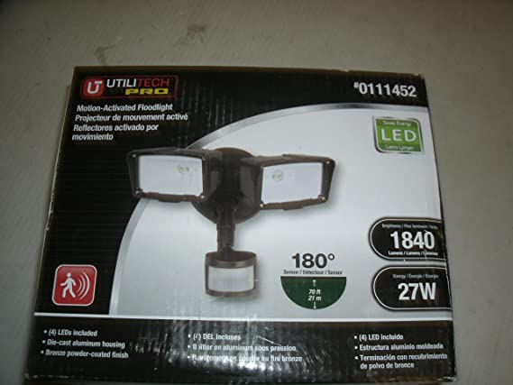 Utilitech Pro 180-Degree 2-Head LED Motion-Activated Flood Light Item#111452 Model#MST18920LUT UPC#080083617784 - - Amazon.com
