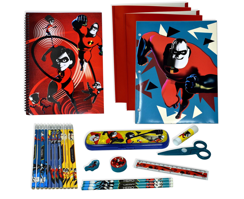Billy's Baskets Incredibles 2 Back To School Supplies For Kids Incredible Notebook Folder Eraser Glue Stick Pencil Sharpener Pencils