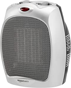 AmazonBasics 1500W Ceramic Personal Heater with Adjustable Thermostat, Silver