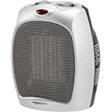 Amazon Basics 1500W Ceramic Personal Heater with Adjustable Thermostat, Silver