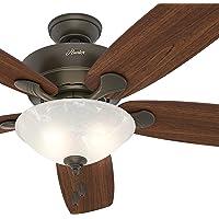 "Hunter Fan 60"" Great Room Ceiling Fan in New Bronze with Swirled Marble Glass Light Kit, 5 Blade (Certified Refurbished)"