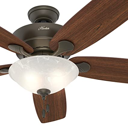 hunter fan 60 great room ceiling fan in new bronze with swirled marble glass light - Bedroom Ceiling Fans