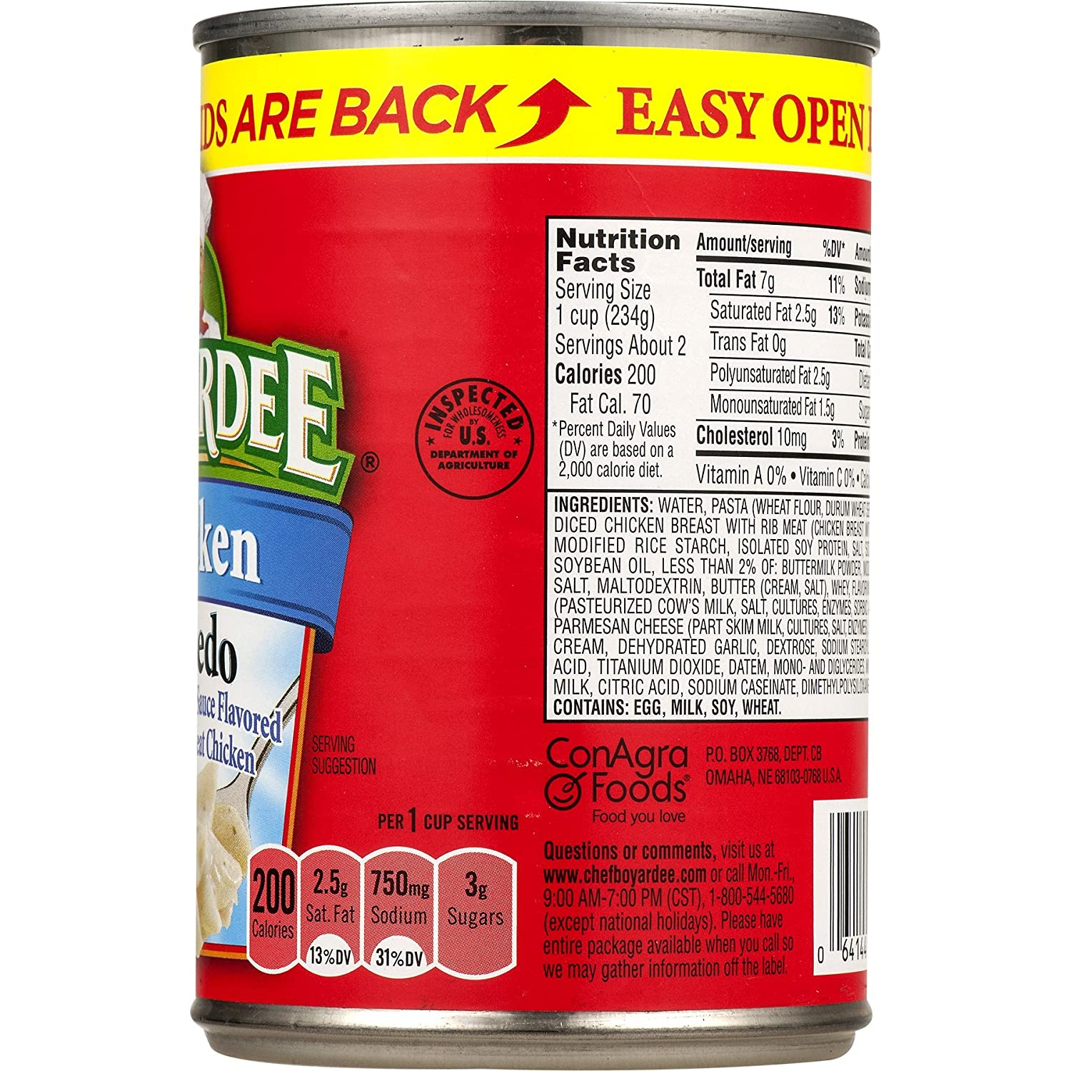 Amazon.com : Chef Boyardee, Chicken Alfredo, 15oz Can (Pack of 6) : Ravioli : Grocery & Gourmet Food