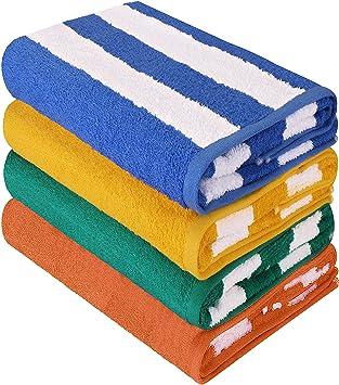 Utopia Towels - Toalla de piscina grande con toalla de playa en Cabana Stripe, paquete. Pasa el ratón por ...