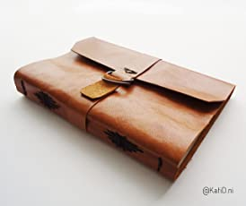 Kati Deni Cuaderno piel floja café claro Costura moño