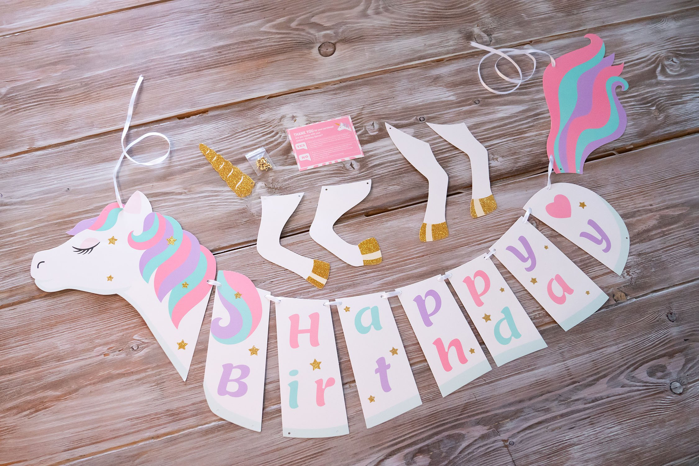 Unicorn Happy Birthday Banner - Unicorn Party Supplies Decorations - PREMIUM Unicorn Birthday Party Magical Pastel… 8