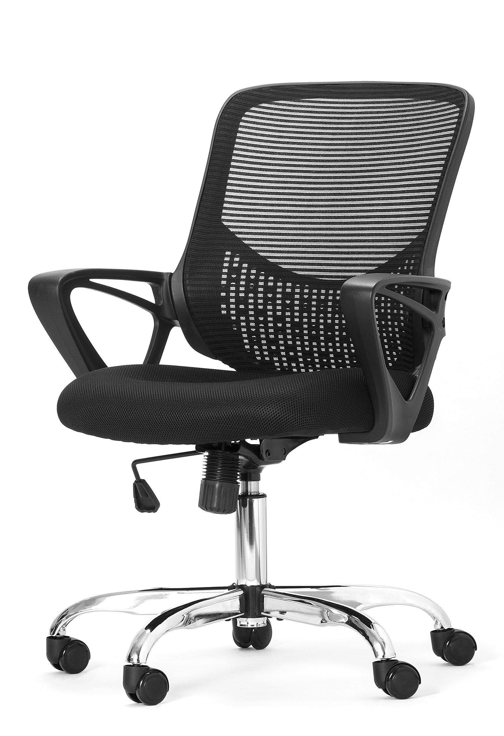 OFFICE FACTOR Mesh Back Office Chair, Adjustable Ventilated Mesh Chair, Breathable Office Chair With Tilt & Swivel Mechanism, High Mesh Back Executive Chair PU Casters 250 Lbs Rated