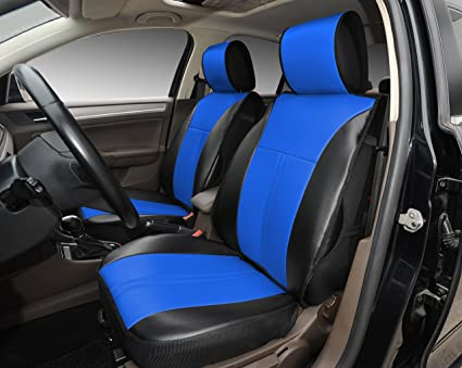 180207 Black Blue 2 Front Car Seat Cover Cushions Leather Like Vinyl Compatible