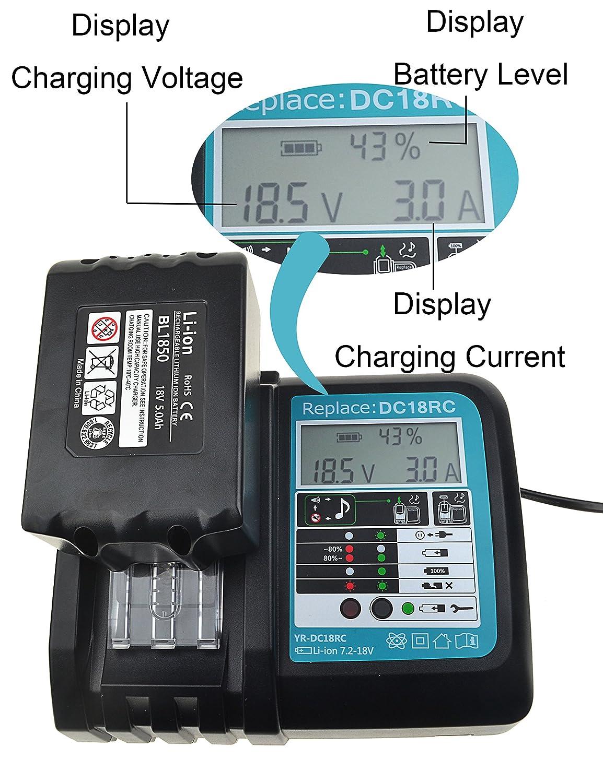 Boetpcr DC18RC Cargador Reemplazo para Makita 14.4V-18V BL1850 BL1845 BL1840 BL1830 BL1415 BL1430 BL1440 BL1450 Cargador con Pantalla LED