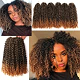 12 Inch Marlybob Crochet Hair 3 Small Bundles/lot Crochet Braids Jerry Curly Hair Extensions Ombre Synthetic Braiding…