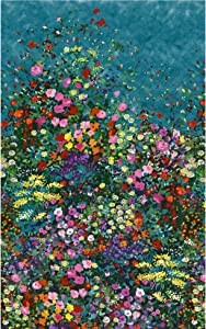 Michael Miller Fabrics Eat Sleep Garden Bowers of Flowers Teal