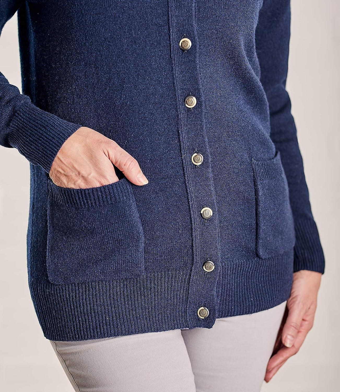 Wool Overs Womens Lambswool Crew Neck Long Cardigan Top Navy M