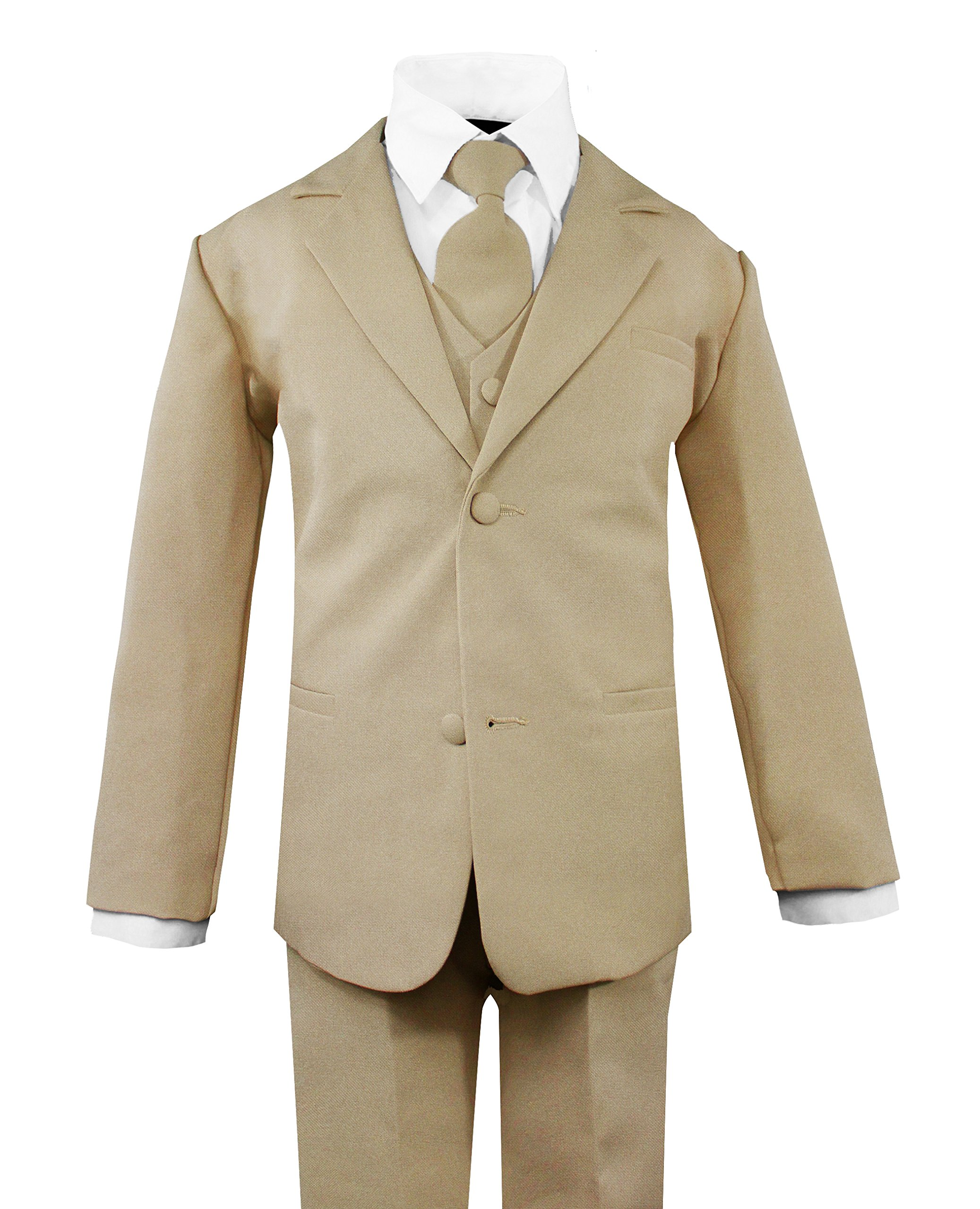 Luca Gabriel Toddler Boys' 5 Piece Classic Fit No Tail Formal Khaki Dress Suit Set with Tie and Vest - Size 7