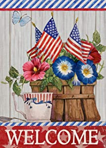 Furiaz Spring Summer Welcome Garden Flag USA Yard Outdoor Home Decorative Small Flag Morning Glory Flower Butterfly House Patriotic Outside Decoration American July 4th Burlap Decor Double Sided 12x18
