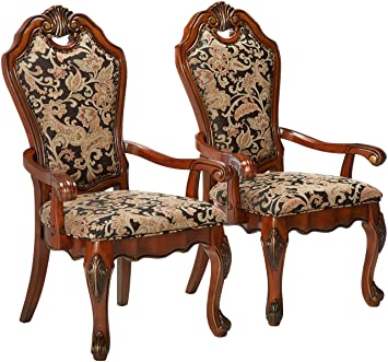 Amazon.com: 247shopathome Hershel Formal Floral Brazo Silla ...