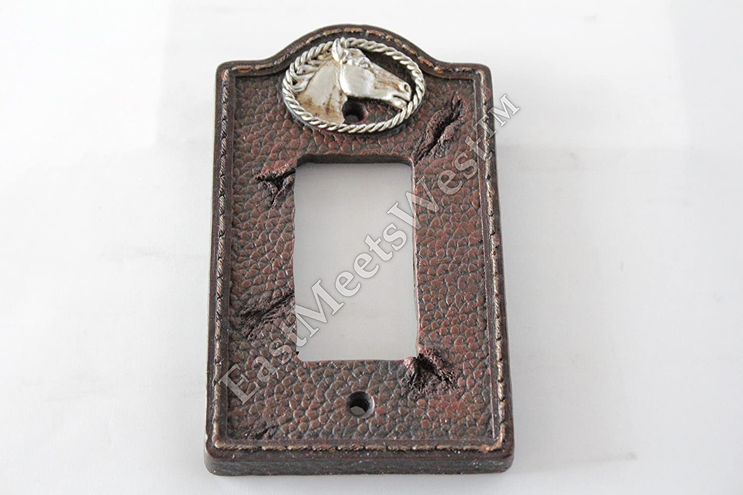 Western Running Horses Switch Rocker Plate Outlet Covers Wood Look Rope Edge