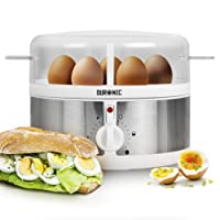Duronic EB35 Electric 7 Egg Boiler Steamer Cooker with Buzzer - Soft | Medium | Hard Boiled Eggs Alarm Timer Settings | Stainless Steel - Includes Egg Piercer & Measuring Water Cup
