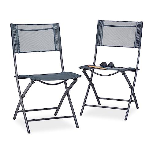 Relaxdays Chaise De Jardin Lot 2 Pliable Plastique Et Mtal Balcon Pliante Camping Terrasse