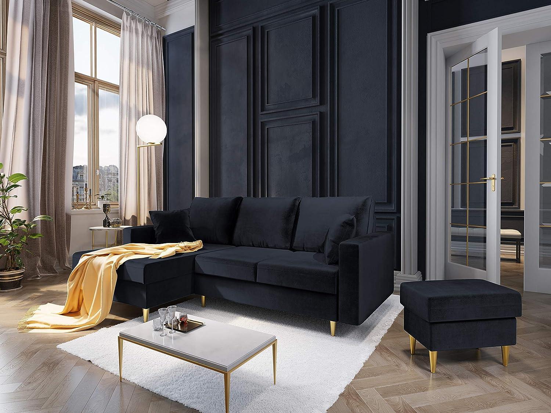 Mazzini Sofas Puf, Muguet, 1 Plaza, Azul Oscuro, 60 x 45 x ...